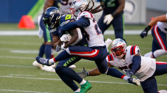 Seahawks wide receiver D.K. Metcalf, Patriots cornerback Stephon Gilmore