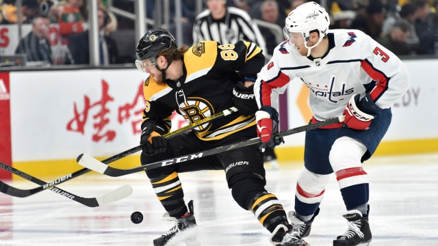 Boston Bruins winger David Pastrnak, Washington Capitals defenseman Nick Jensen