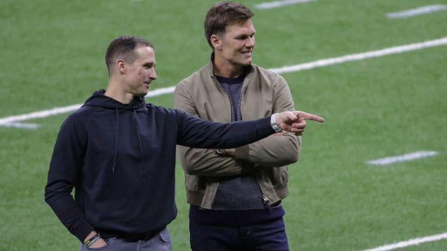 New Orleans Saints quarterback Drew Brees and Tampa Bay Buccaneers quarterback Tom Brady