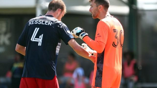 New England Revolution defender Henry Kessler (left) and goalkeeper Matt Turner