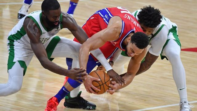 Boston Celtics guards Jaylen Brown, Marcus Smart, Philadelphia 76ers guard Ben Simmons