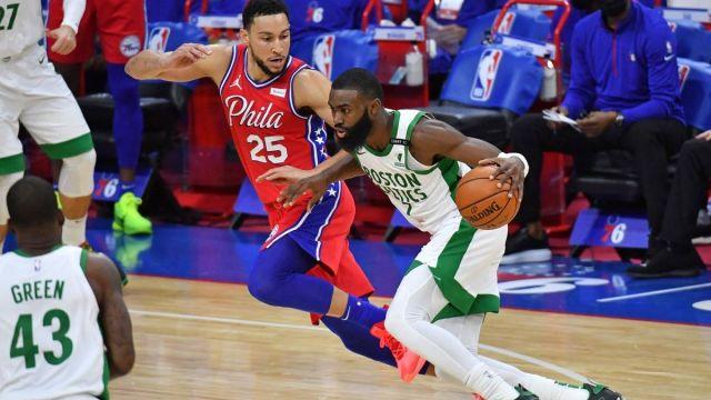 Philadelphia 76ers guard Ben Simmons, Boston Celtics guard Jaylen Brown