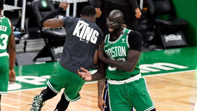 Boston Celtics guard Jaylen Brown, center Tacko Fall