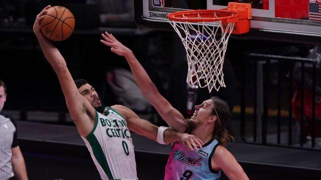 Boston Celtics forward Jayson Tatum, Miami Heat forward Kelly Olynyk