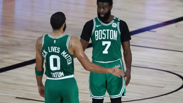 Boston Celtics forwards Jayson Tatum (left) and Jaylen Brown