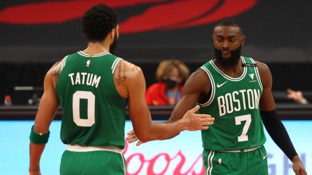 Boston Celtics forward Jayson Tatum, guard Jaylen Brown