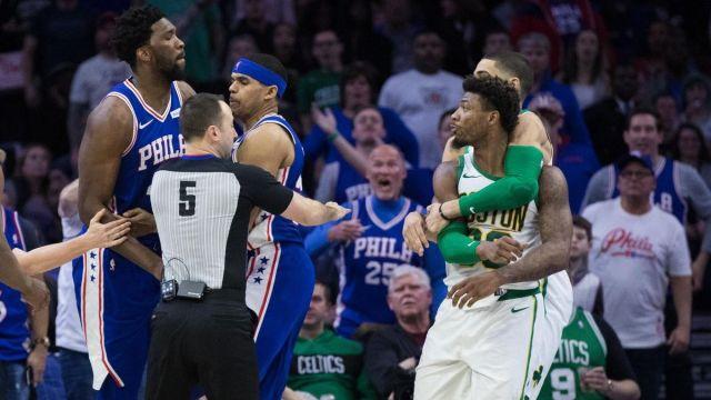 Philadelphia 76ers center Joel Embiid, Boston Celtics guard Marcus Smart