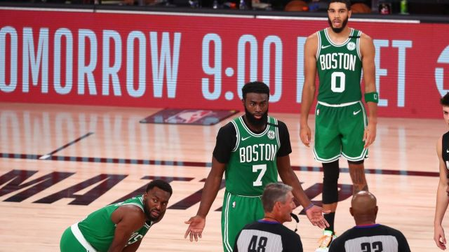 Boston Celtics guards Kemba Walker, Jaylen Brown, forward Jayson Tatum