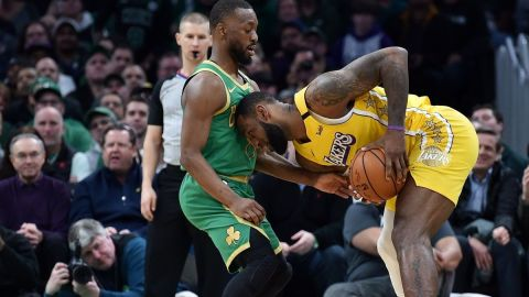 Boston Celtics guard Kemba Walker, Los Angeles Lakers forward LeBron James