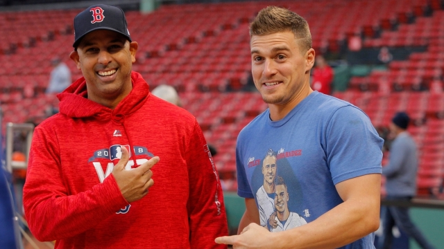 Boston Red Sox infielder Kike Hernandez, manager Alex Cora