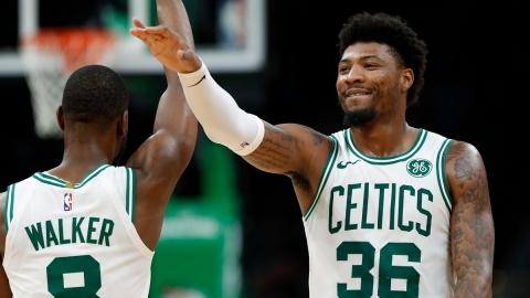 Oklahoma City Thunder Guard Kemba Walker And Boston Celtics Guard Marcus Smart