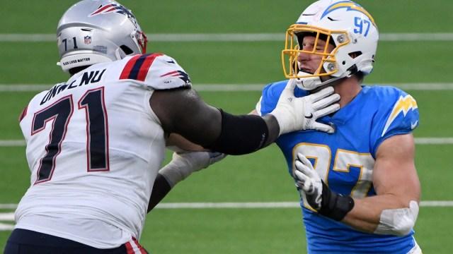 New England Patriots offensive lineman Michael Onwenu, Chargers defensive end Joey Bosa