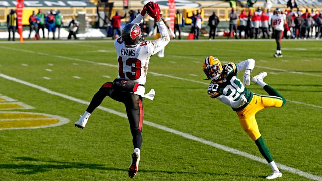 Tampa Bay Buccaneers wide receiver Mike Evans and Green Bay Packers cornerback Kevin King