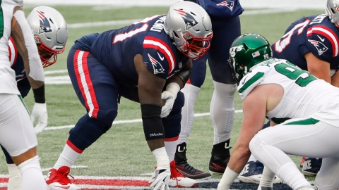 New England Patriots offensive lineman Mike Onwenu