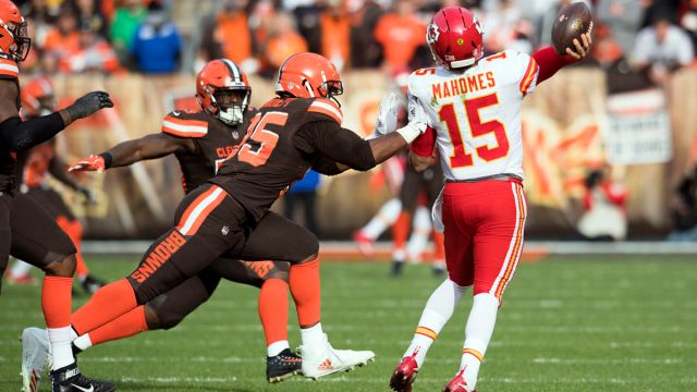 Cleveland Browns defensive lineman Myles Garrett and Kansas City Chiefs quarterback Patrick Mahomes