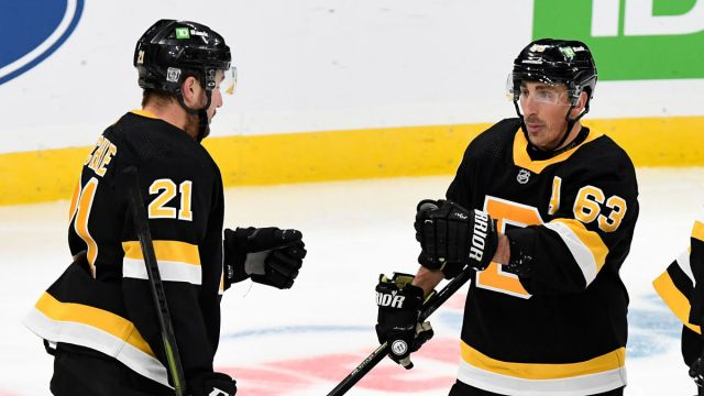 Boston Bruins forwards Nick Ritchie, Brad Marchand
