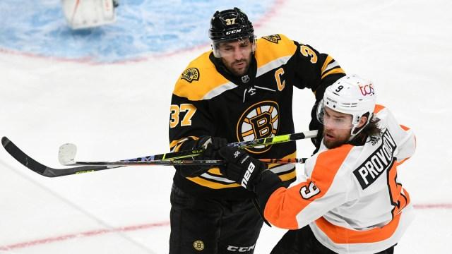 Boston Bruins center Patrice Bergeron, Philadelphia Flyers defenseman Ivan Provorov