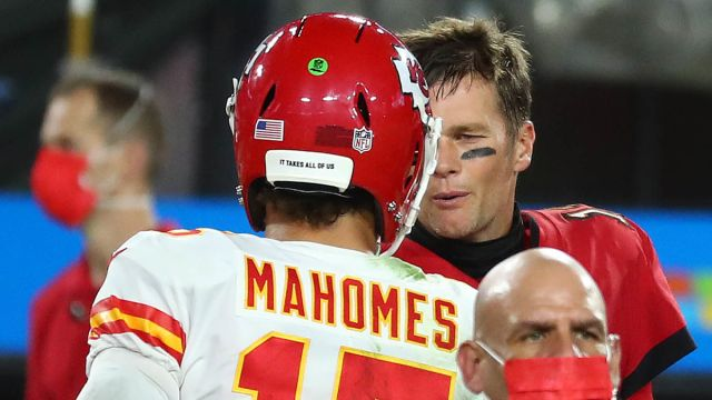 Kansas City Chiefs quarterback Patrick Mahomes, Tampa Bay Buccaneers quarterback Tom Brady