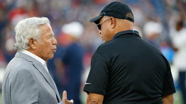 New England Patriots owner Robert Kraft and Carolina Panthers owner David Tepper