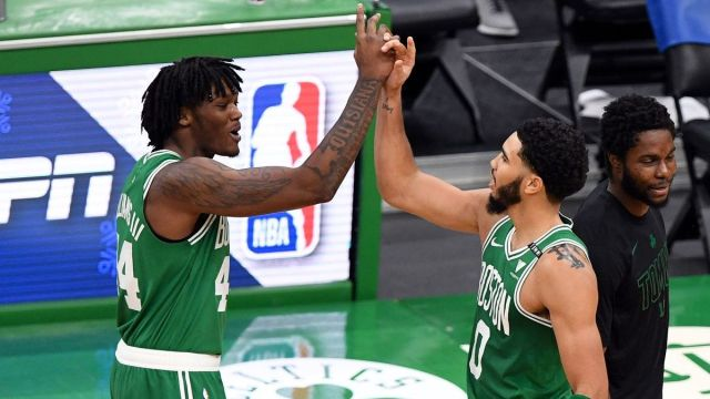 Boston Celtics center Robert Williams, forward Jayson Tatum
