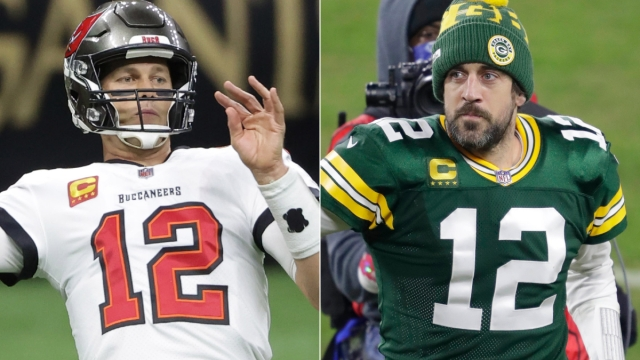 Tampa Bay Buccaneers quarterback Tom Brady And Green Bay Packers quarterback Aaron Rodgers