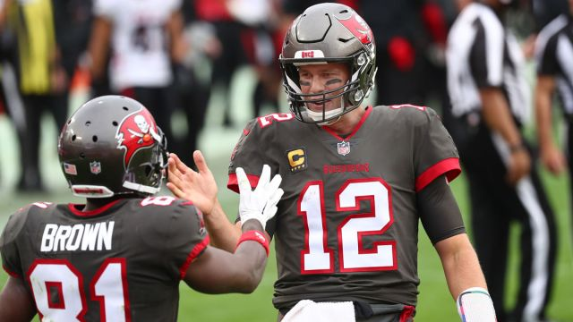 Tampa Bay Buccaneers quarterback Tom Brady and wide receiver Antonio Brown