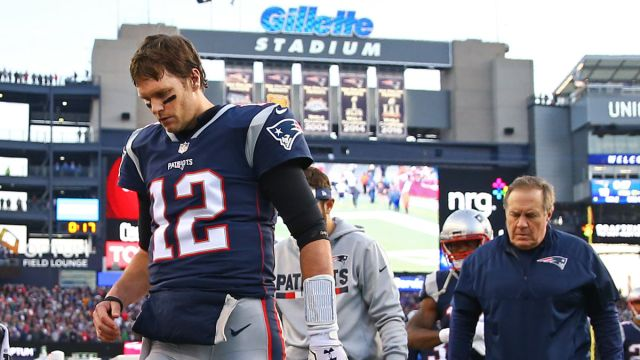 New England Patriots head coach Bill Belichick, quarterback Tom Brady