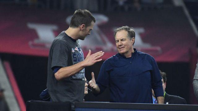 New England Patriots quarterback Tom Brady, head coach Bill Belichick