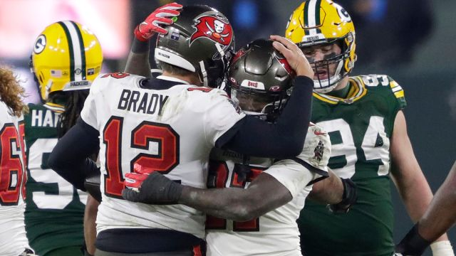 Tampa Bay Buccaneers quarterback Tom Brady and running back Ronald Jones II