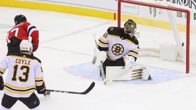 Boston Bruins goalie Jaroslav Halak, New Jersey Devils winger Yegor Sherangovic