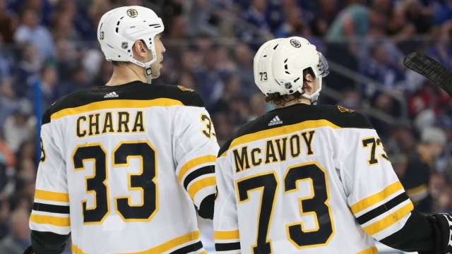 Washington Capitals Defenseman Zdeno Chara And Boston Bruins Defenseman Charlie McAvoy
