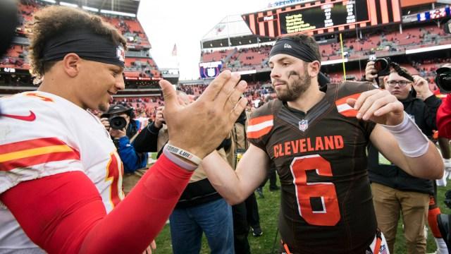 Kansas City Chiefs quarterback Patrick Mahomes, Cleveland Browns' Baker Mayfield
