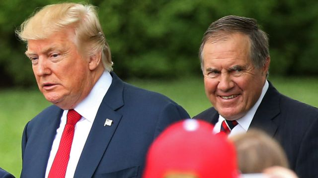 New England Patriots Head Coach Bill Belichick and United States President Donald Trump