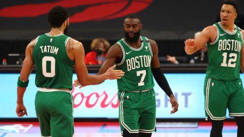 Boston Celtics forward Jayson Tatum and guard Jaylen Brown