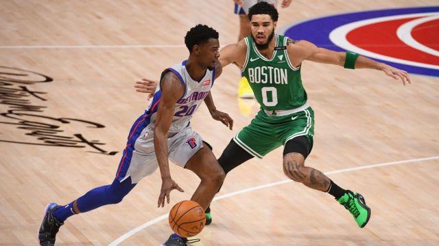 Detroit Pistons forward Josh Jackson and Boston Celtics forward Jayson Tatum