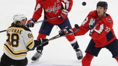 Washington Capitals defenseman Zdeno Chara, Boston Bruins winger David Pastrnak