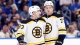 Boston Bruins winger Brad Marchand, defenseman Charlie McAvoy