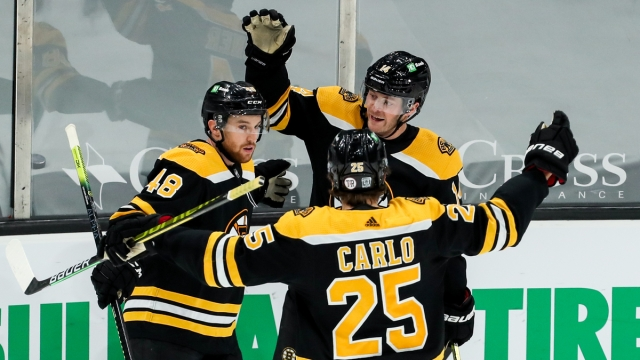 Boston Bruins Forward Chris Wagner, defensemen Brandon Carlo and Matt Grzelcyk