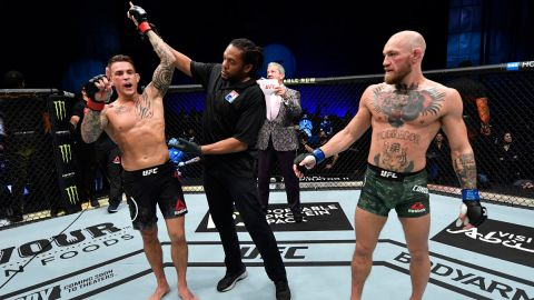 UFC fighters Conor McGregor and Dustin Poirier