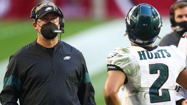 Philadelphia Eagles head coach Doug Pederson and quarterback Jalen Hurts