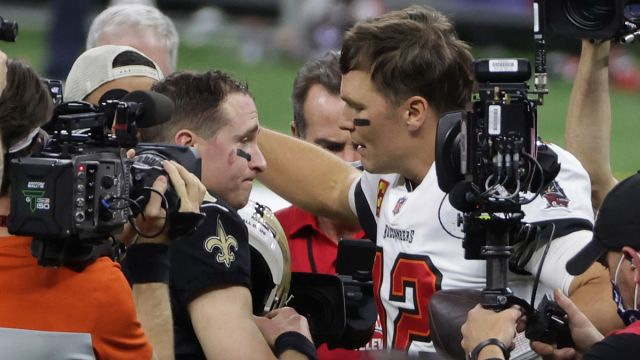 Tampa Bay Buccaneers quarterback Tom Brady and New Orleans Saints quarterback Drew Brees