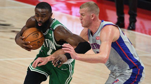 Boston Celtics guard Jaylen Brown and Detroit Pistons center Mason Plumlee