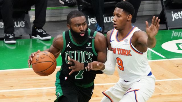 Celtics forward Jaylen Brown and Knicks guard RJ Barrett