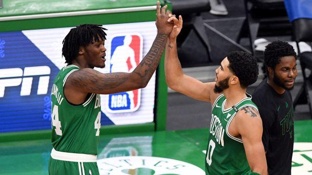Boston Celtics forward Jayson Tatum and center Robert Williams III