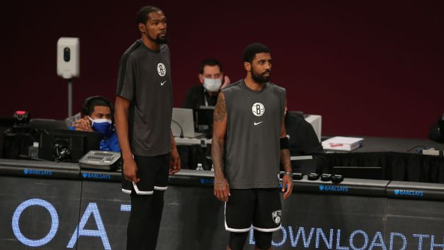 Brooklyn Nets small forward Kevin Durant and point guard Kyrie Irving