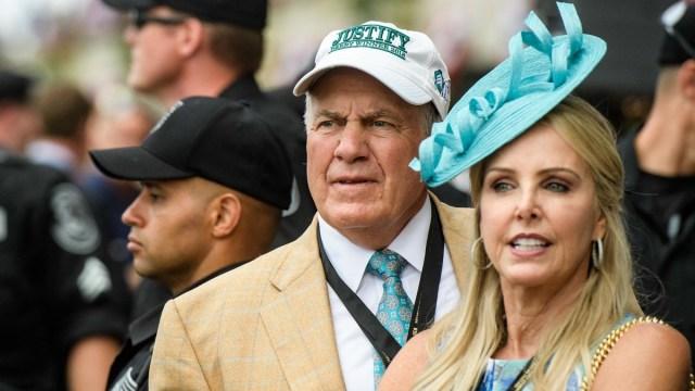 New England Patriots head coach Bill Belichick, girlfriend Linda Holliday