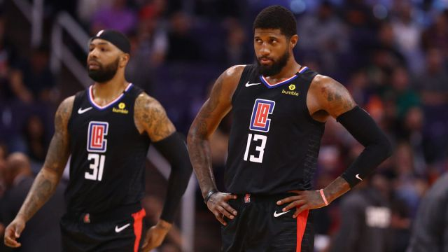 Los Angeles Clippers guard Paul George and forward Marcus Morris Sr.