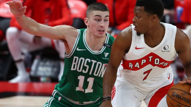 Toronto Raptors guard Kyle Lowry and Boston Celtics guard Payton Pritchard