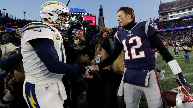 NFL quarterbacks Tom Brady and Philip Rivers