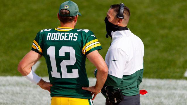 Green Bay Packers quarterback Aaron Rodgers and head coach Matt LaFleur